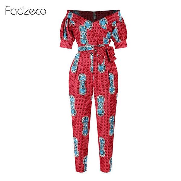 Fadzeco African Dresses for Women Dashiki Off Shoulder V Neck Jumpsuit Ladies Robe Ankara Dress Bazin African Clothes for Women
