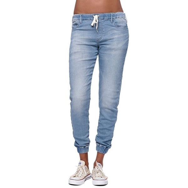 Casual Jogger Pants 2020 Elastic Skinny Pencil Jeans For Women Leggings Jeans High Waist Women's Denim Drawstring Pants