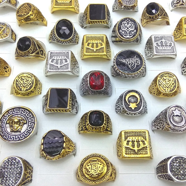 Gold Color Silver Color Square Round Shape Mixed Designs Men's Rings Wholesale