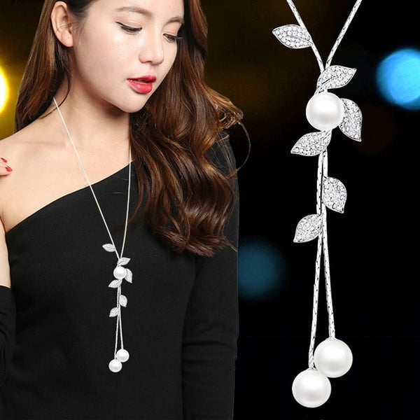 Long Black Crystal Necklaces & Pendants Fashion Gold Silver Color Chain Rhinestone Geometric  Necklace Jewelry For Women 2020
