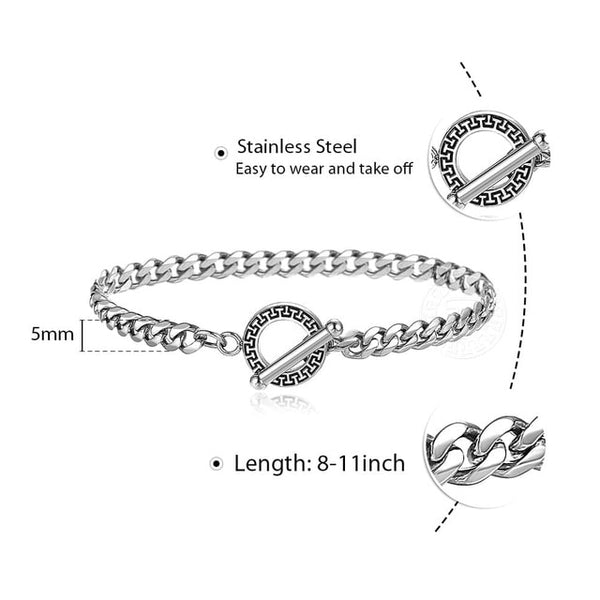 Men's Bracelets Black Silver Color Stainless Steel Box Link Wheat Twristed Rolo Cable Cuban Bracelet Women Jewelry Gift TBS003