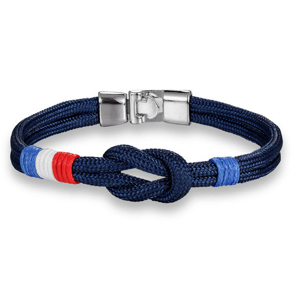 Charm Country France Flag Rope Bracelet Men infinity Colorful Survival stainless steel Bracelets Women Homme friendship jewelry