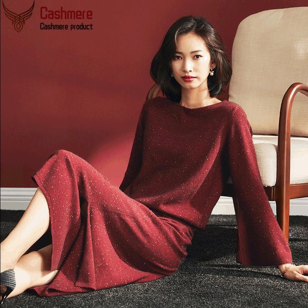 Cashmere suit cashmere jacket skirt two-piece suit 2020 autumn and winter new cashmere sweater ruffle sweater women's mid-length