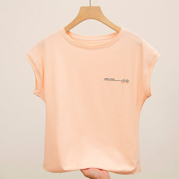 Foxmertor Women's Shirt Fashion Summer Short-Sleeved T-Shirt 2020 New Cotton Solid Color Casual Shirt Slim Large Size women Top