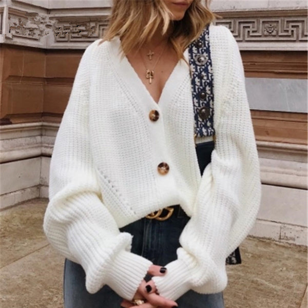 Buttons Up Sweater Cardigan Women Knitwear V Neck Women's Clothing Winter 2020 Cardigan Korean Style Sale