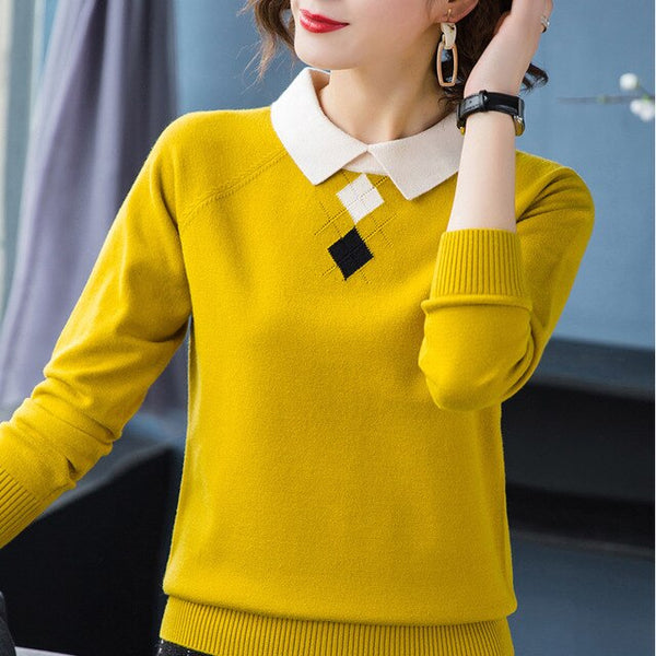 New Autumn Winter Turn Down Collar Sweater Christmas Women's Pullovers Knitted Cute Sweaters Long Sleeve Knitwear Sueter Mujer