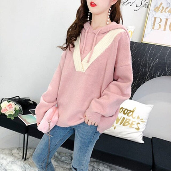 Women Sweaters Long Sleeve Autumn Winter Solid color Casual Tops Ladies Loose Fat sister Hooded Pullovers Knitwear Female T101