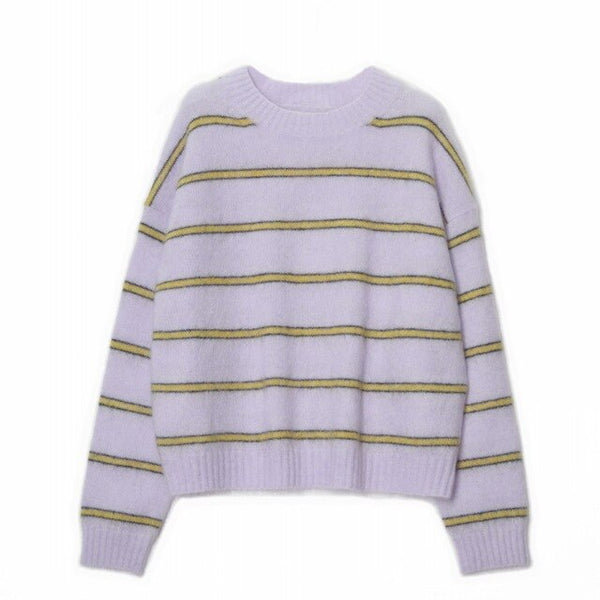 Autumn Winter Women's Knitted Sweater Striped Long Sleeve O-neck Lady Knitwear Pull Tops