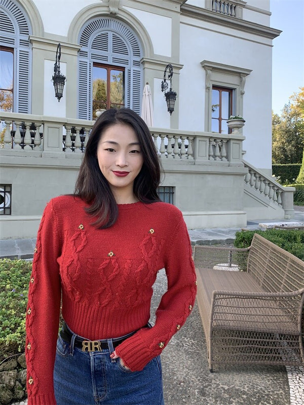 Women's Red Knitted Sweater O-neck Vintage Embroidery Floral Knitwear Pullover Top