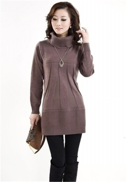 Autumn Winter Women Sweater Pullover Middle-aged Clothes Medium Long Knitwear Jumper Loose Large Size Sweater Female Tops K997