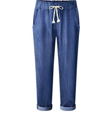 Women's Denim Harem pants 2020 Fashion New Spring Elastic Waist Loose Casual Pants Plus size 4XL 5XL 6XL Female Summer Trousers