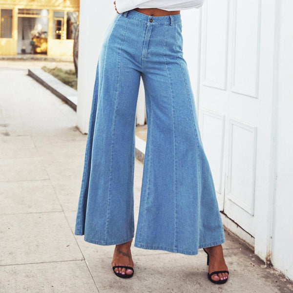 Summer 2020 Fashion casual Street Jeans womens pants Denim Women's High Wash High Waist Wide Leg Pants loose cowboy long pants
