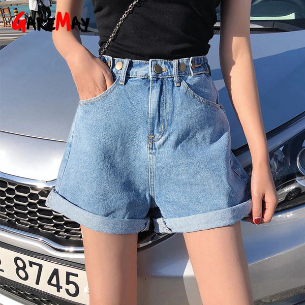 Garemay Women's Denim Shorts Classic Vintage High Waist Blue Wide Leg Female Caual Summer Ladies Shorts Jeans For Women