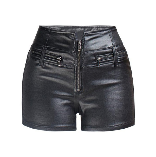 New Fashion High Waist Shorts Vintage Slim Slit High quality Leather Short Black Red PU Women's Shorts Summer