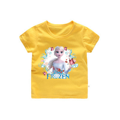 Summer Snow Story Anna Elsa Girls T-Shirts Cotton Unicorn T-Shirt For Boys Toddler Girls Clothes Kids Tops Tees 3-9 Years Kids