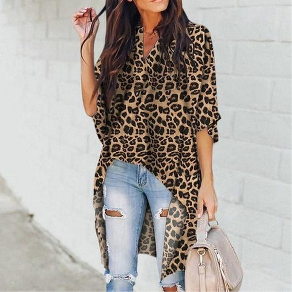 New Fashion Women's Summer Half Flare Sleeve V-neck Long Tee Lady Loose Casual Leopard Pattern Tops T-Shirt