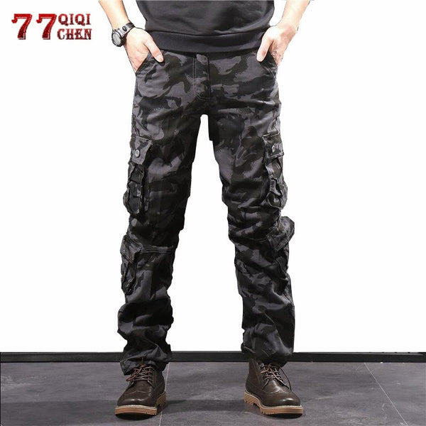 Men's Camouflage Pants Cotton Military Cargo Camo Pants Multi Pocket Hip Hop Joggers Streetwear Overalls Army Combat Trousers 44