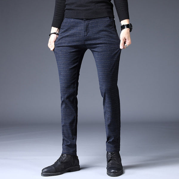 Autumn Winter Pants Men Classic Casual Elastic Long Trousers Male black Cotton stripes straight warm Work Pant men's size 36 38