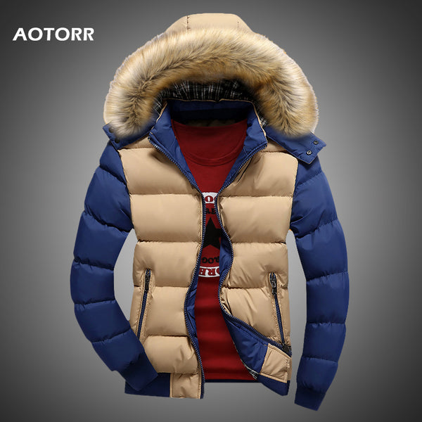 Men Down Jacket Winter New Male Casual Hooded Outwears Coat Warm Fur Parka Overcoat Men's Solid Thick Fleece Zipper Jackets 2020