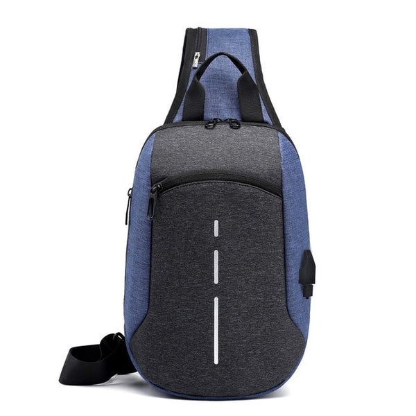USB Charging Bag Men's Chest Bag Cross-Border Reflective School Shoulder Bag Diagonal Package Messenger Travel Bag Men