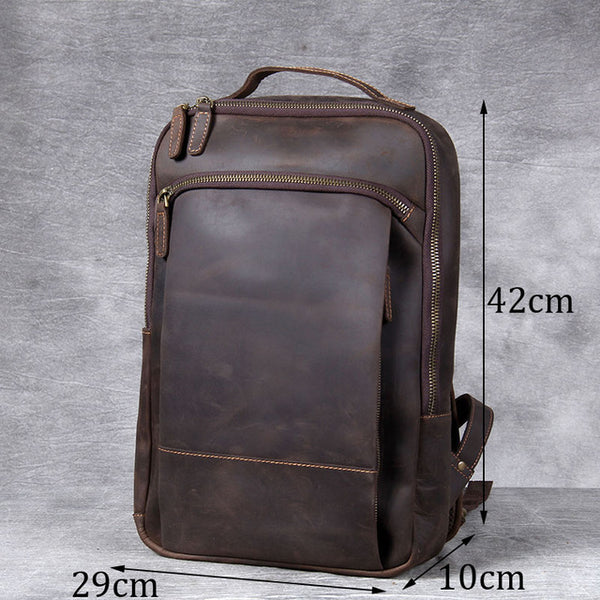 Vintage mad horse leather shoulder bag, handmade head leather backpack, men's leather computer bag