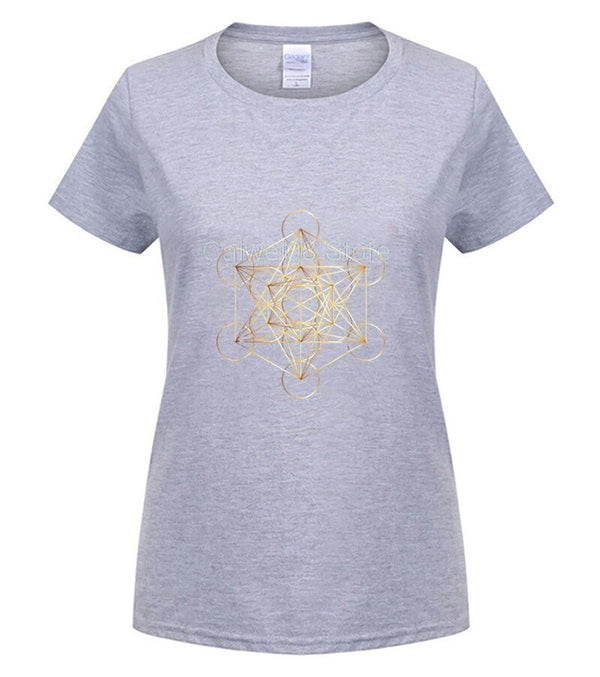 Fashion Printed men's T-Shirt Short Sleeve brand men Metatron s Cube Sacred Geometry Gold tshirt men