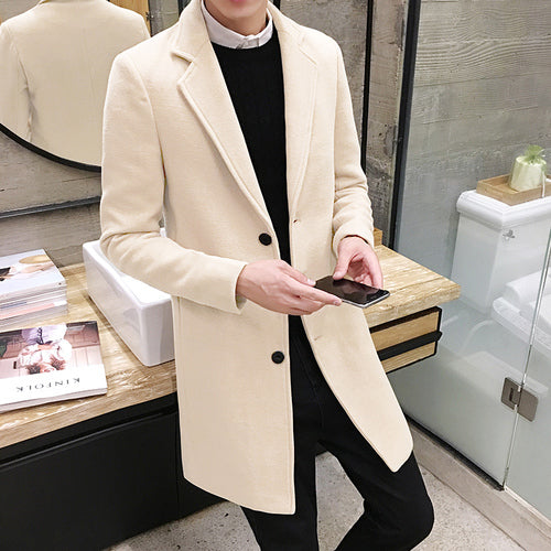 Men's woolen coat 5XL large size slim long trench coat, fashion slim wild men's jacket