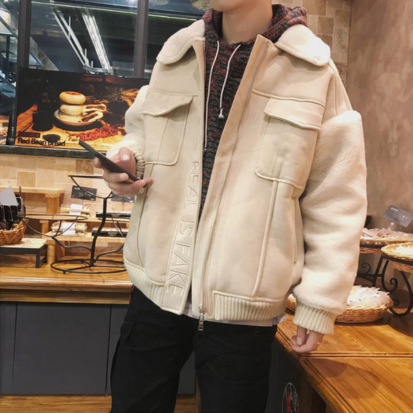 New men's thickened winter coat cotton jacket Korean Trend cotton padded jacket tooling winter streetwear