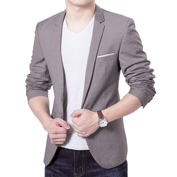 Mens Blazer Slim Fit Cotton Suit Jacket Black Blue Male Blazers Men's Coat Work Wedding Wear
