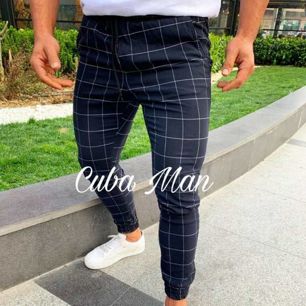 High wasit spring summer fashion pocket Men's Slim Fit Plaid Straight Leg Trousers Casual Pencil Jogger Casual Pants