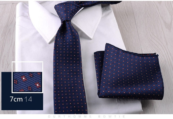 New Floral Paisley Men's Casual Tie Set Navy Red 7cm Skinny Polyester Necktie Pocket Square Suit Business Wedding Party Slim Tie