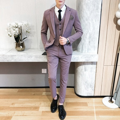 Men's suits, men's suits, slim, handsome, fashion, free ironing, youth, business, formal dress, groom, wedding, three-piece suit
