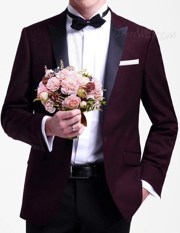 New Arrival Groom Tuxedos Peak Black Satin Lapel Men's Suit Groomsman/Best Man Wedding/Dinner Suits (Jacket+Pants)