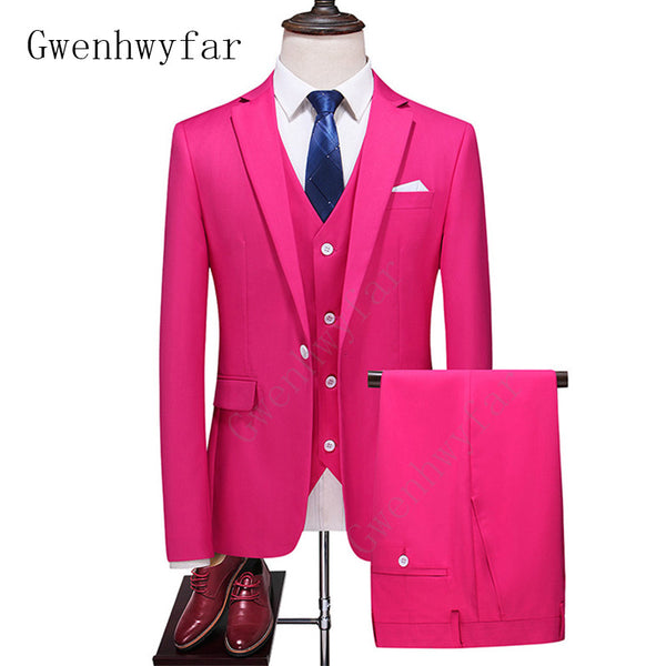 Gwenhwyfar New Men Suit Men's Fashion Rose Red Design Suit 3-Piece (Coat+Pants+Vest) Men's Business Casual Suit Terno Masculino
