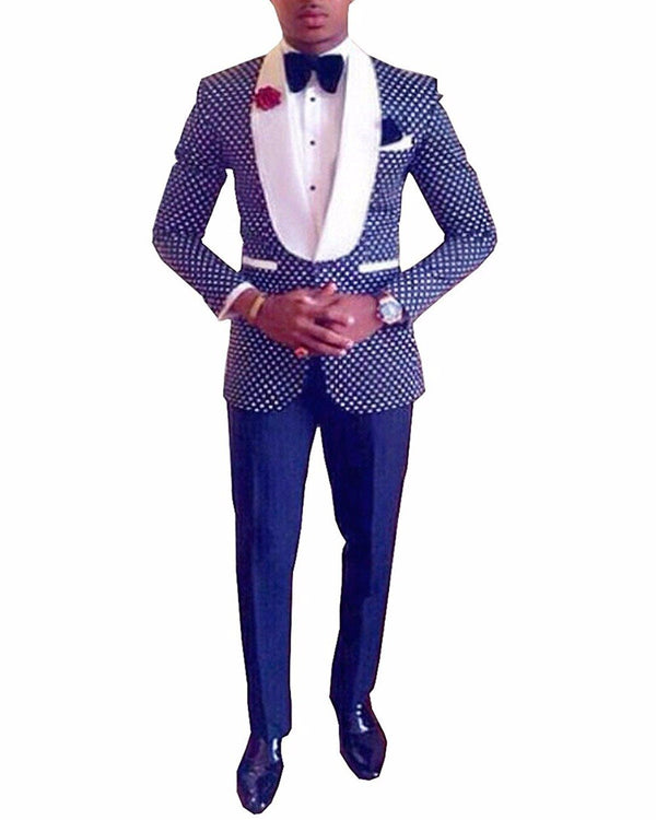 Two Pieces Royal Blue Men's Polka Dots Groomsmen Shawl Lapel Mens Suit For Wedding Bridegroom Tuxedo Prom (Blazer+Pants)