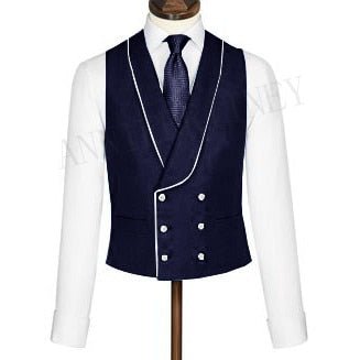 Men's Vest Double Breasted Suit Vest 2020 Shawl Lapel Waistcoats Slim Fit Sleeveless Coat Tuxedo Prom Wedding Mens Vests