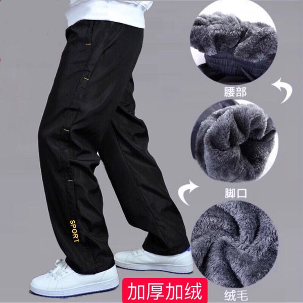 Men's Sweatpant Trousers Autumn Winter Plus Velvet Warm Pants Quick-drying Loose Straight Summer Wear-resistant Waterproof Pant
