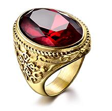 Cool Punk Real 316L stainless steel Red Ring Men's big red Crystal red stones Finger Rings for man Gothic Casting Ring