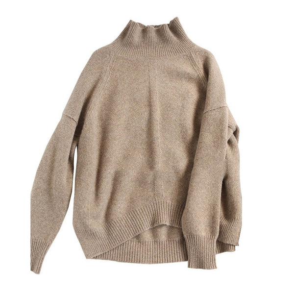 Autumn and Winter New Cashmere Sweater Women's High-Necked Pullover Loose Thick Sweater Short Paragraph Knit Shirt