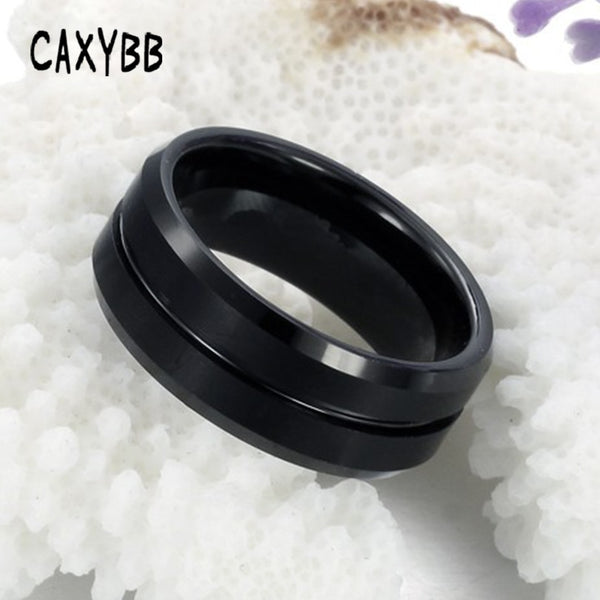 Caxybb Fashion Men Jewelry Ring stainless steel Jewelry Tungsten Ring Men's Black silver Trendy party metal Rings