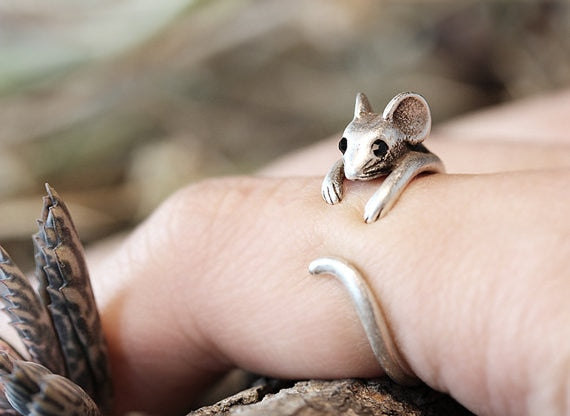 Mouse Ring Women's Girl's Retro Burnished Rat Animal Ring Jewelry Adjustable Free Size  Ring Black Crystal gift idea--12pcs/lot