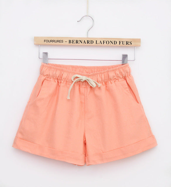 Summer Style Shorts Women Candy Color Elastic With Belt  Short Women  A224