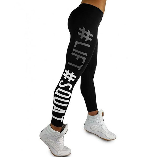 Quickitout Summer Style Women's Leggings Lift Squat Letter Print Push Up Hips Pants Workout Fitness Leggings Slim Trousers