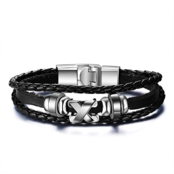 Vnox Lucky Vintage Men's Leather Bracelet Playing Cards Raja Vegas Charm Multilayer Braided Women Pulseira Masculina 7.87