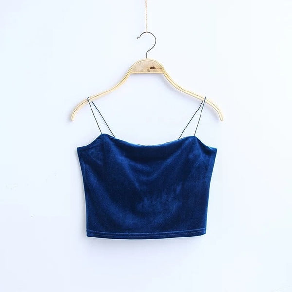 Fashion Spaghetti Straps Tank Top Velvet Short Crop Top 7 Colors Boob Tube Top Bustier Brief Vest T-shirts Tee