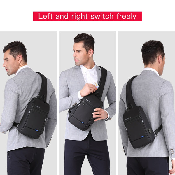 Kingsons Men Chest Bag  New Anti-thief Crossbody Bag Water Repellent Men Shoulder Bags 9.7 inch Ipad Fashion Bags