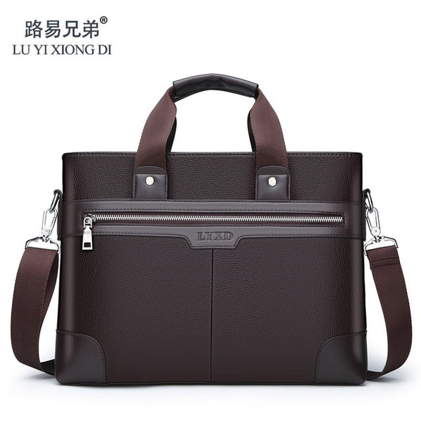 Men's Casual Style PU Material High Quality Computer Bag Large Capacity Multi-Function Business Travel Aviation Flight Handbag