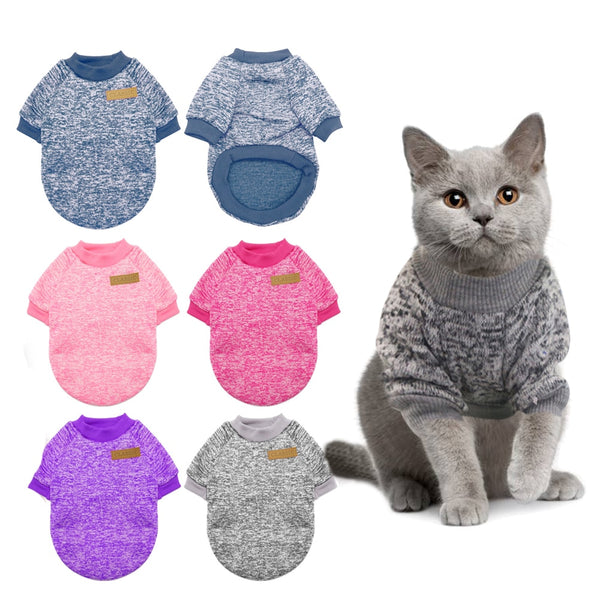 Warm Cat Sweater Clothing Autumn Winter Pet Dog Clothes For Small Dogs Cats Chihuahua Pug Yorkies Kitten Outfit Cat Coat Costume