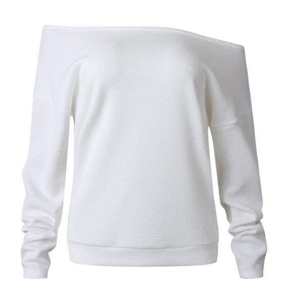 LOSSKY Solid Women's Autumn Knitwear 2020 Slash Neck Off Shoulder  Loose Long-Sleeve Sweater Women's Casual White Tops