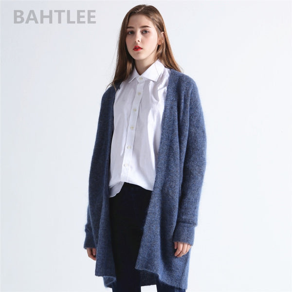 Spring autumn Women's Mohair wool knitted Cardigan sweater Long Sleeves V-neck pockets